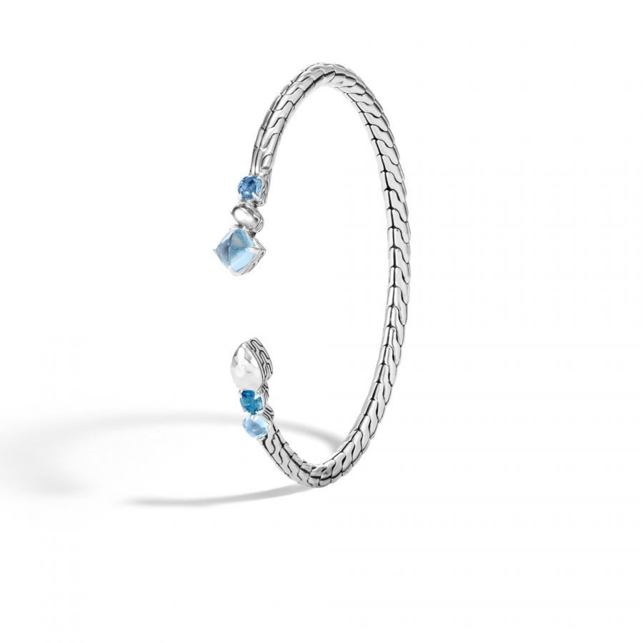 Classic Chain 3.5MM Flex Cuff in Hammered Silver, With London Blue Topaz 2
