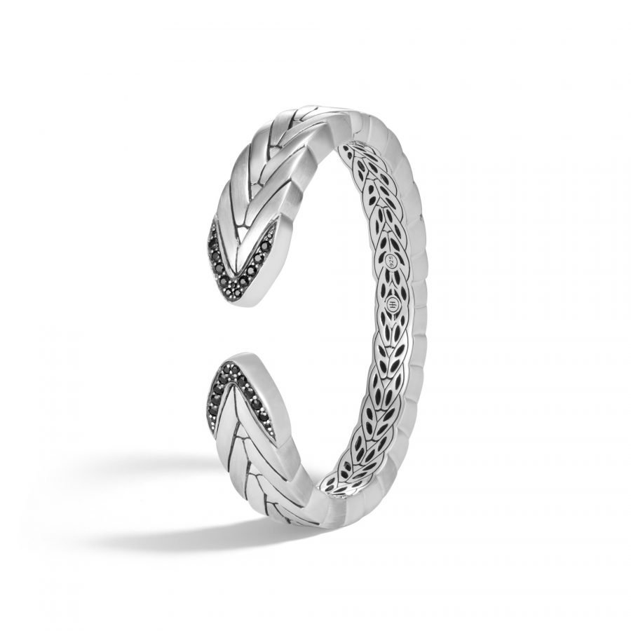 Modern Chain 14MM Kick Cuff in Brushed Silver with Black Sapphire - Medium 2