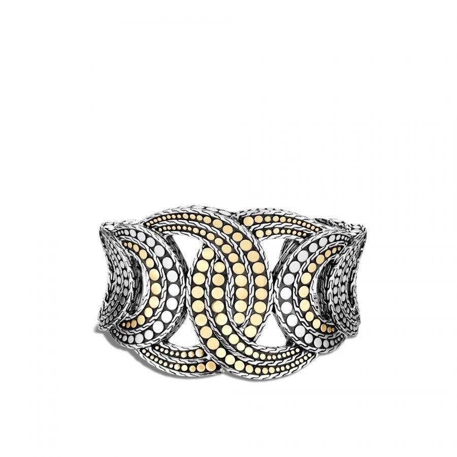 Dot 43MM Cuff in Silver and 18K Gold 2