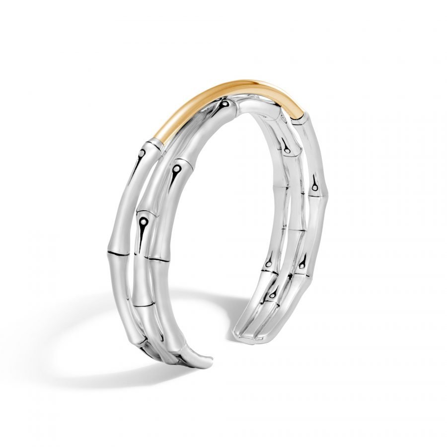 Bamboo 12MM Flex Cuff in Silver and 18K Gold 2