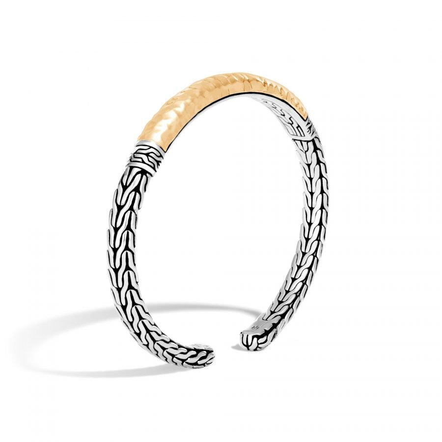 Classic Chain Flex Cuff in Silver and Hammered 18K Gold 2