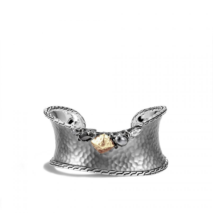 Classic Chain Hammered Cuff in Blackened Silver & 18K Gold with Black Spinel 2