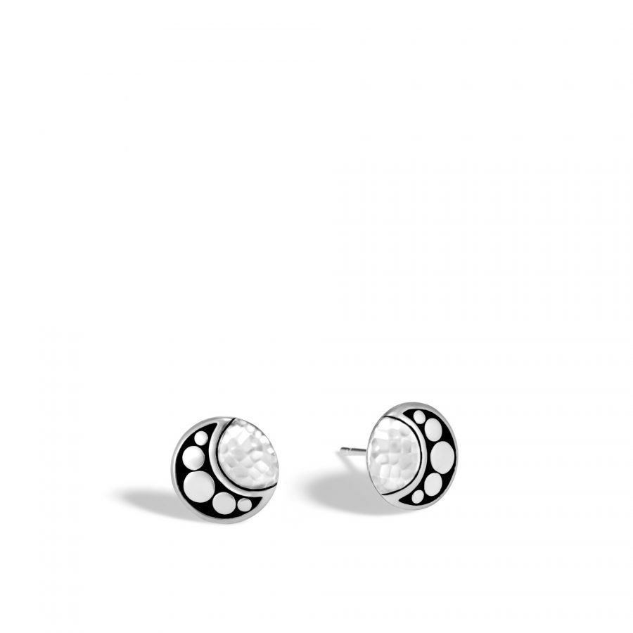 Dot Moon Phase 11MM Stud Earring in Hammered Silver 2