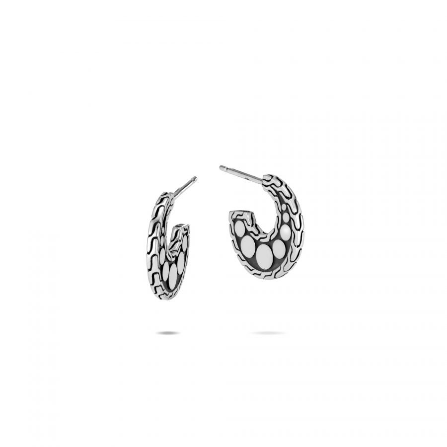 Dot Extra Small Hoop Earring in Silver 2
