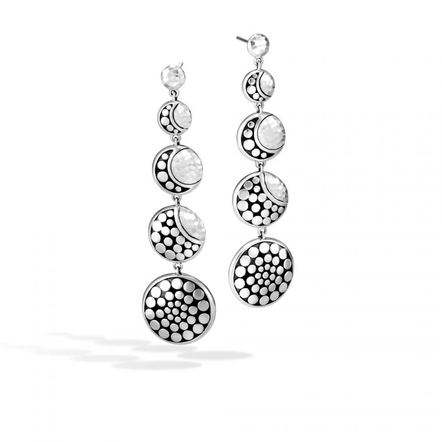 Dot Moon Phase Drop Earring in Hammered Silver 2