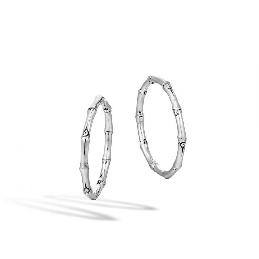 Bamboo Medium Hoop Earring in Silver 2