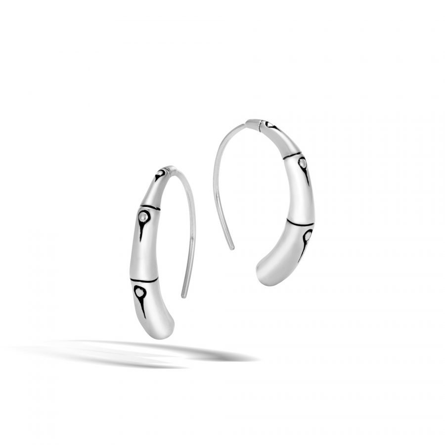 Bamboo Small Hoop Earring in Silver 2