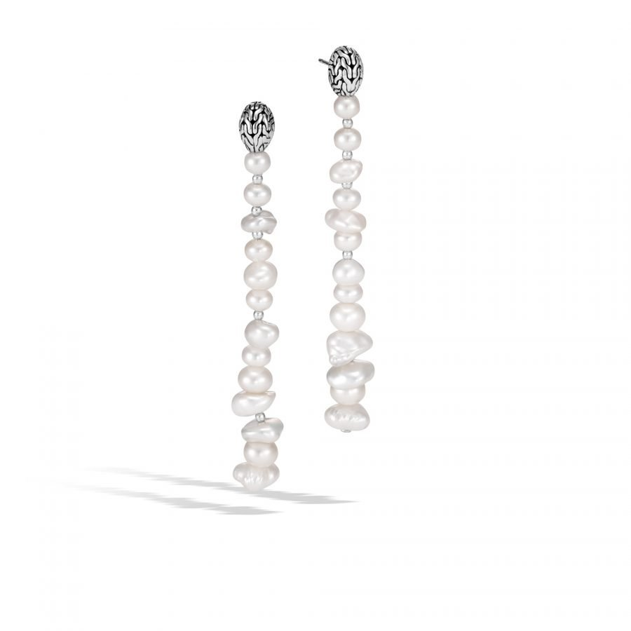 Classic Chain Drop Earring in Silver with White Fresh Water Pearl 2