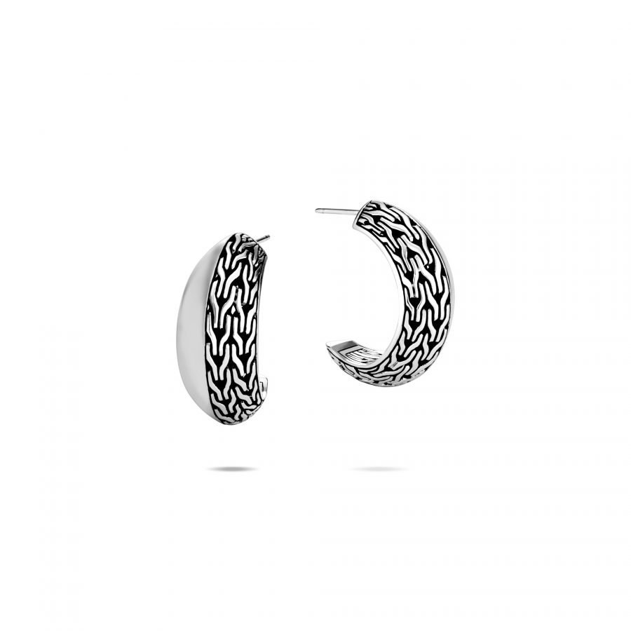Classic Chain Knife Edge Extra Small Hoop Earring in Silver 2
