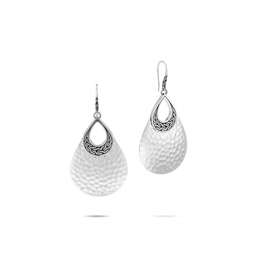 Classic Chain Teardrop Earring in Hammered Silver 2