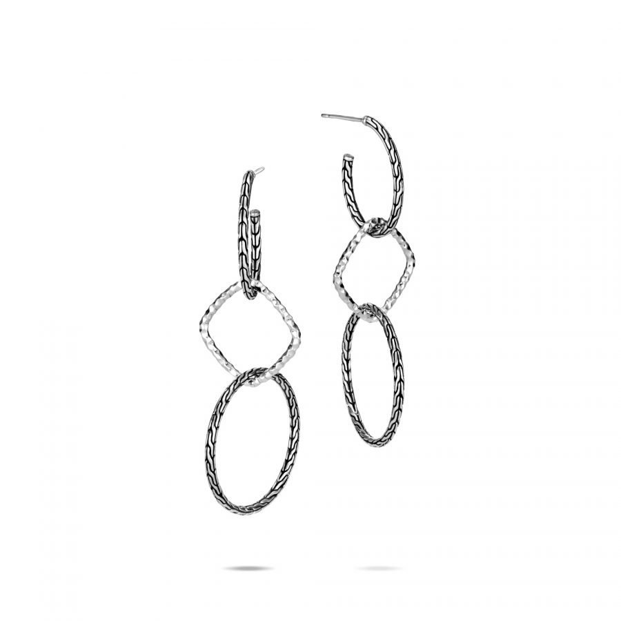 Classic Chain Drop Earring in Hammered Silver 2