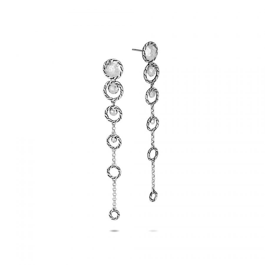Dot Drop Earring in Hammered Silver 2