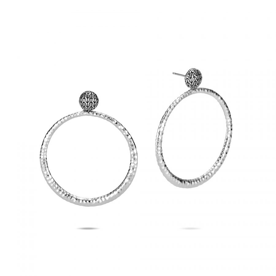 Classic Chain Round Earring in Hammered Silver 2
