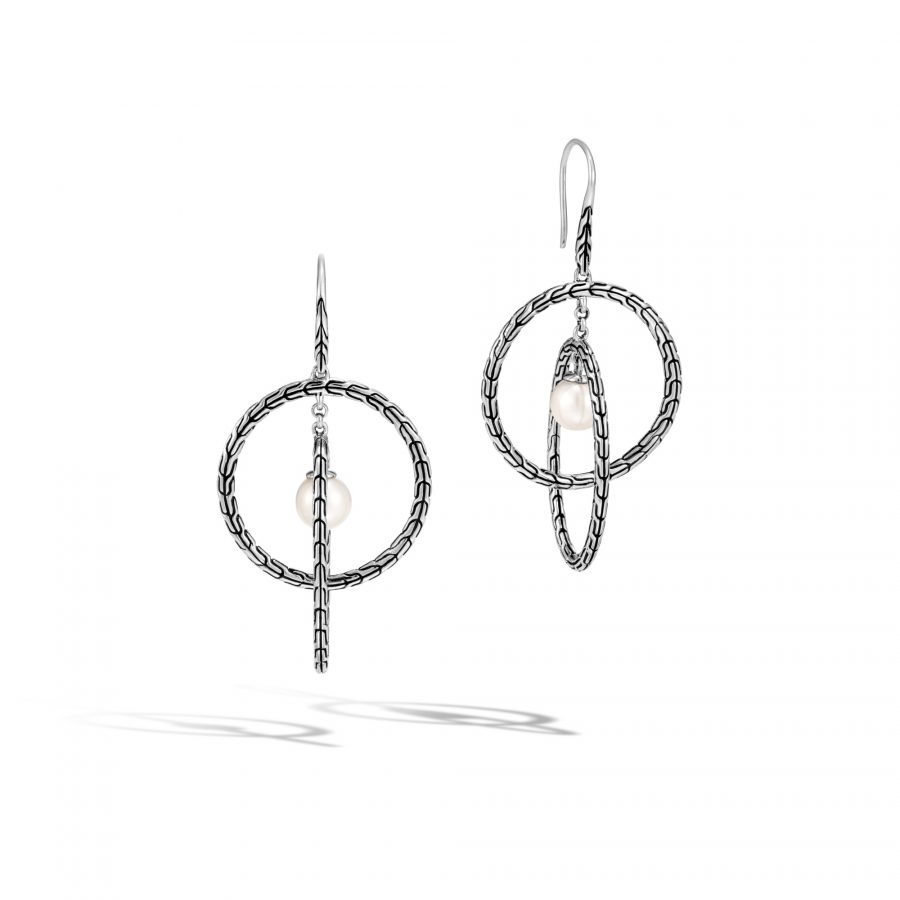Classic Chain Drop Earring in Silver with 7MM White Fresh Water Pearl 2