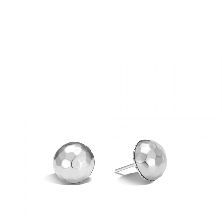 Classic Chain 11MM Stud Earring in Hammered Silver 2