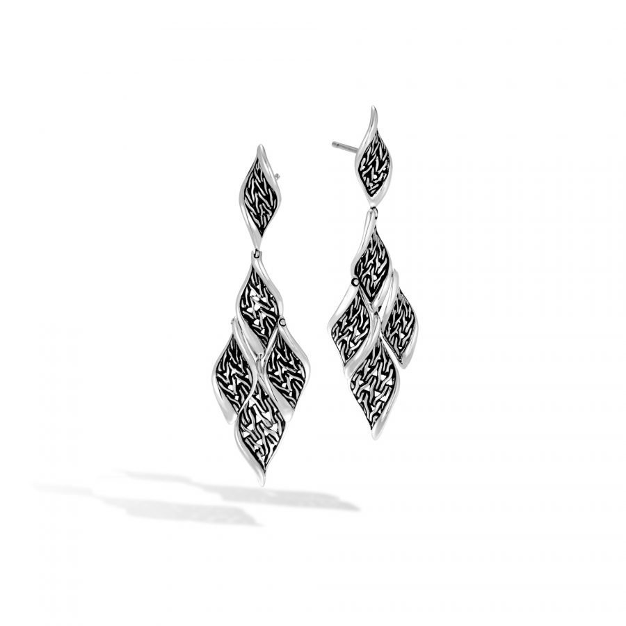 Classic Chain Wave Drop Earring in Silver 2