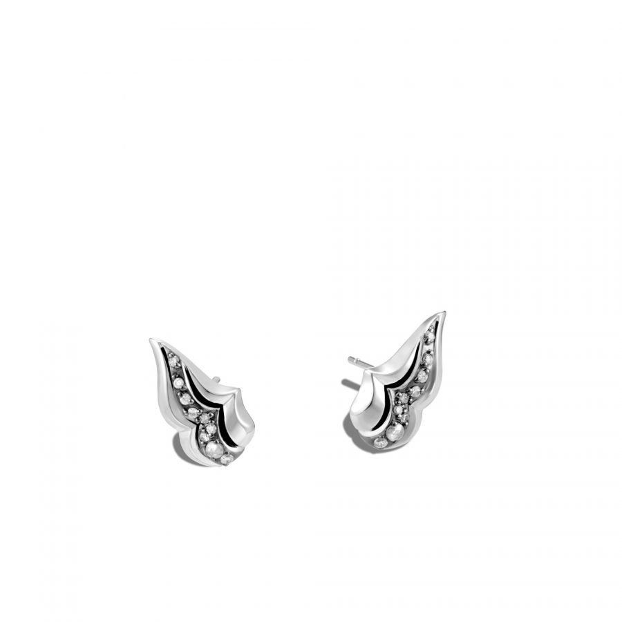 Lahar Stud Earring in Silver with White Diamonds 2
