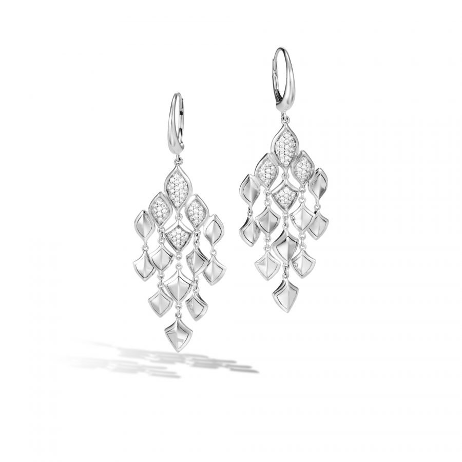 Legends Naga Chandelier Earring in Silver with White Diamonds 2
