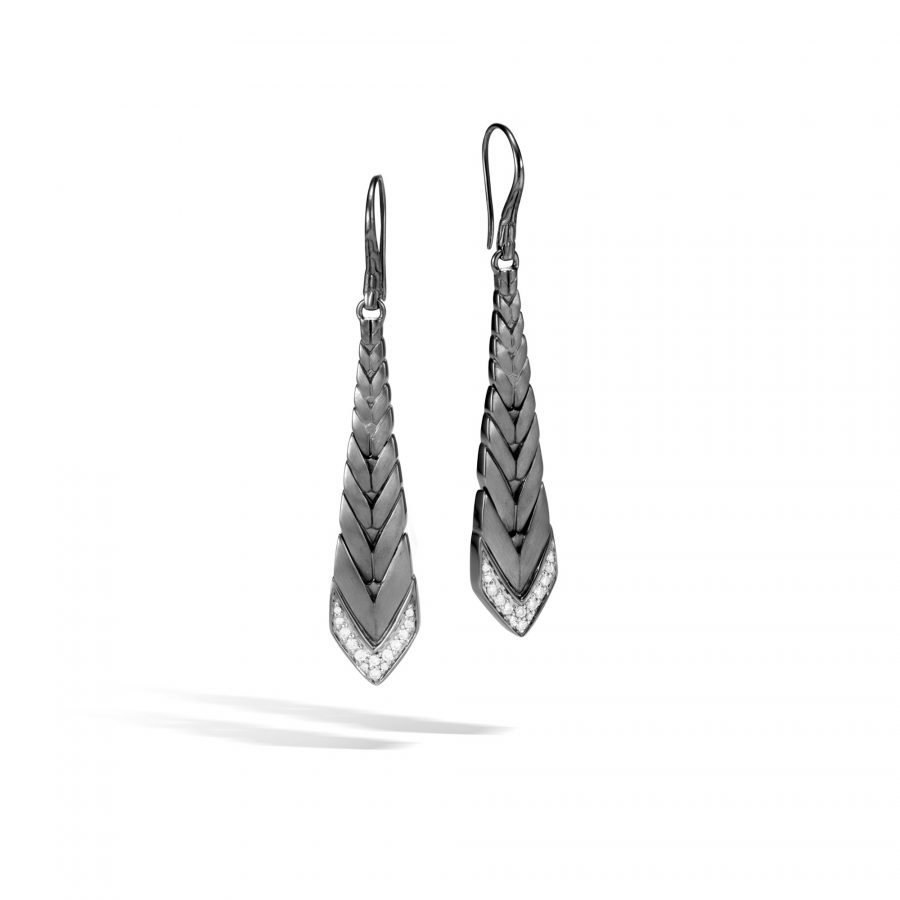 Modern Chain Drop Earring in Blackened Silver with White Diamonds 2