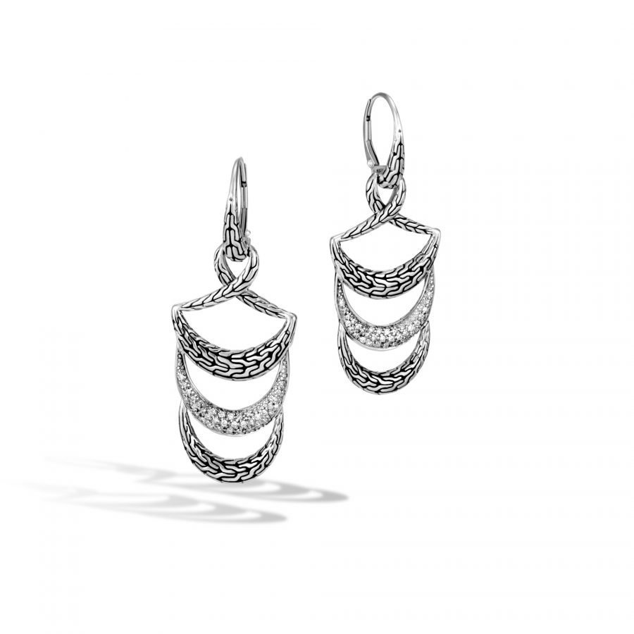 Classic Chain Drop Earring in Silver with White Diamonds 2