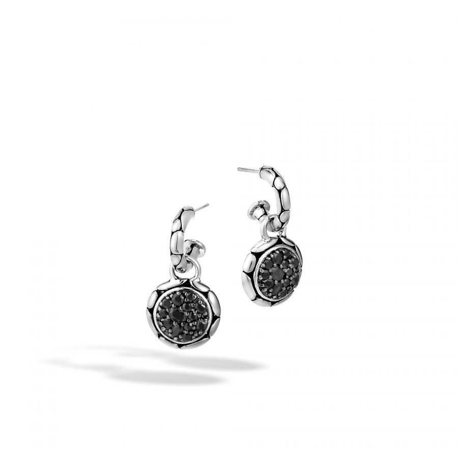 Kali Extra Small Drop Earring in Silver with Treated Black Sapphire 2