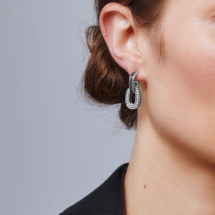 Dot Drop Earring in Silver with Black Sapphire 2