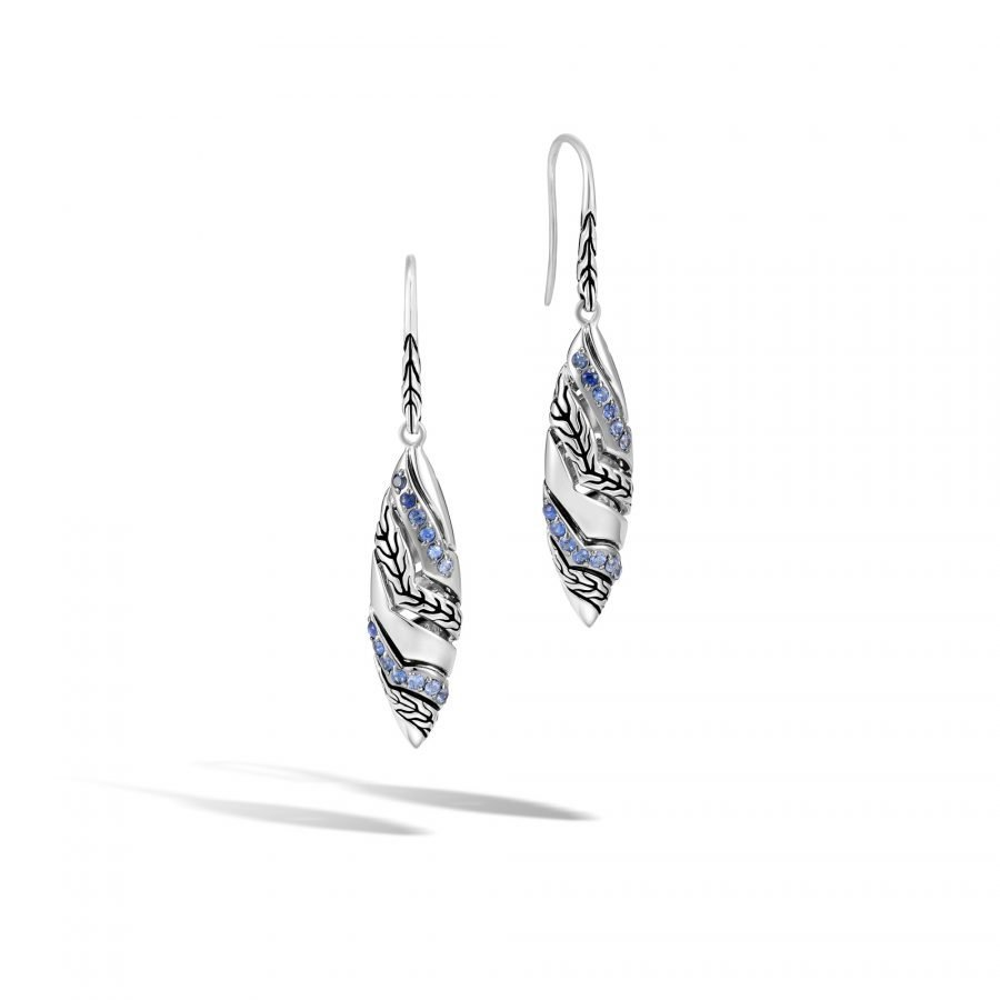 Lahar Marquise Drop Earring in Silver with Blue Sapphire 2
