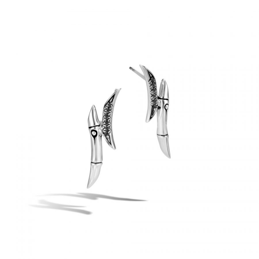 Bamboo 28.5x7.5MM Stud Earring in Silver with Black Spinel 2