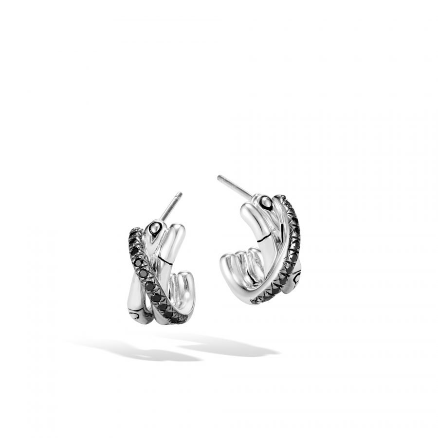 Bamboo J Hoop Earring in Silver with Black Spinel 2