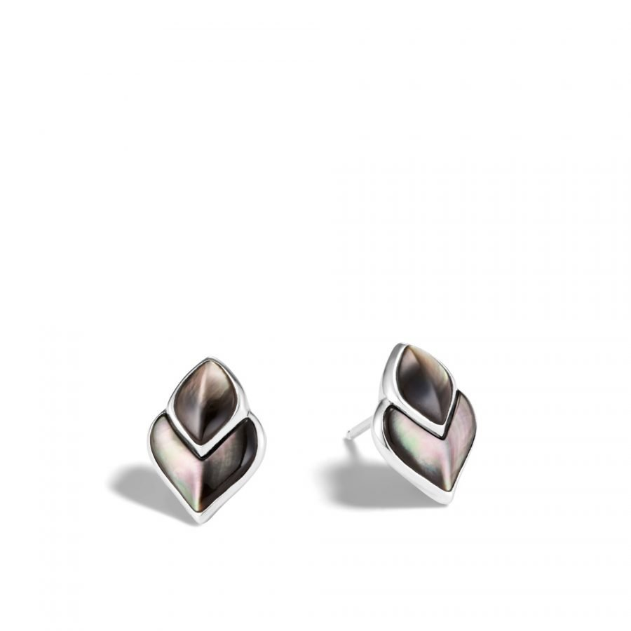 Legends Naga Stud Earring in Silver with Grey Mother of Pearl 2