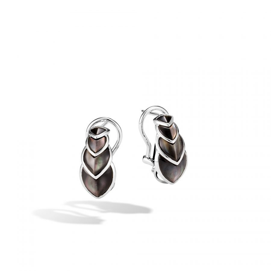 Legends Naga Buddha Belly Earring in Silver with Grey Mother of Pearl 2