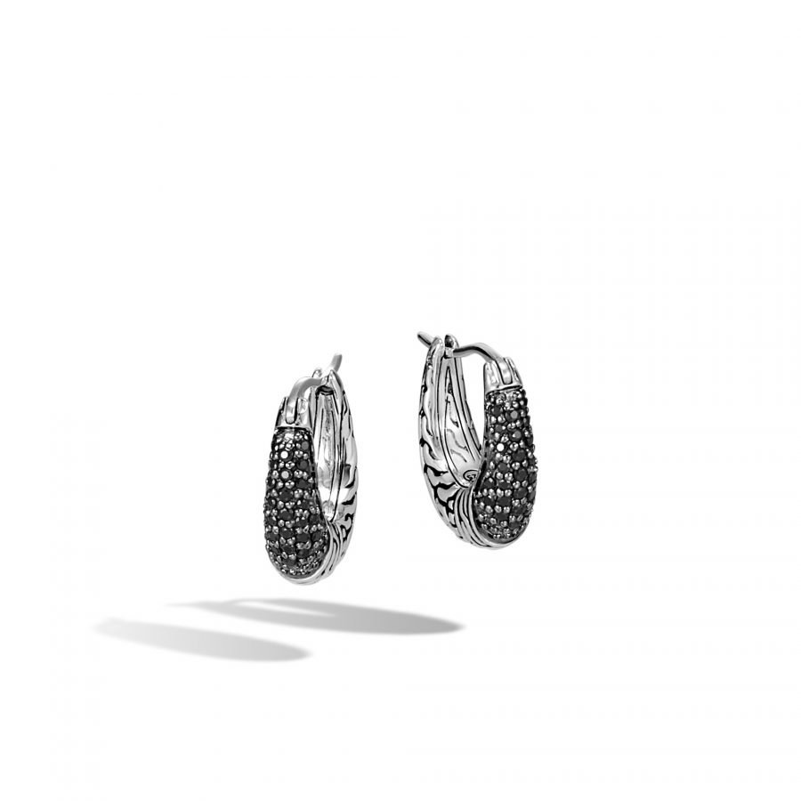 Classic Chain Hoop Earring in Silver with Black Spinel 2