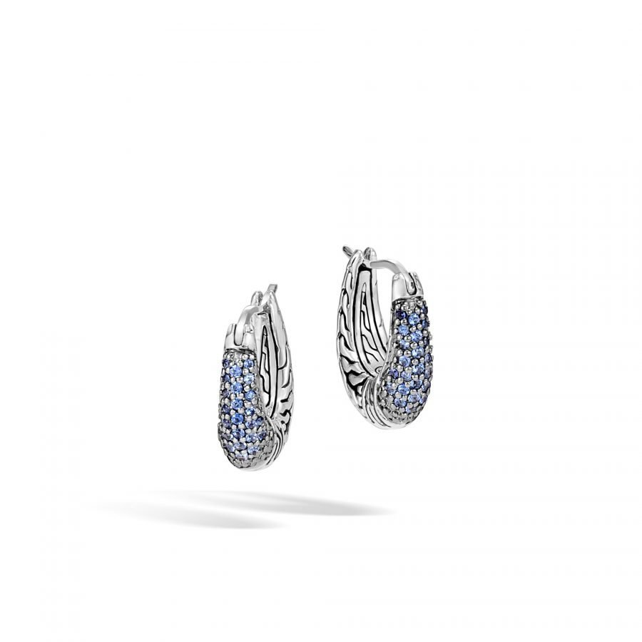 Classic Chain Hoop Earring in Silver with Blue Sapphire 2