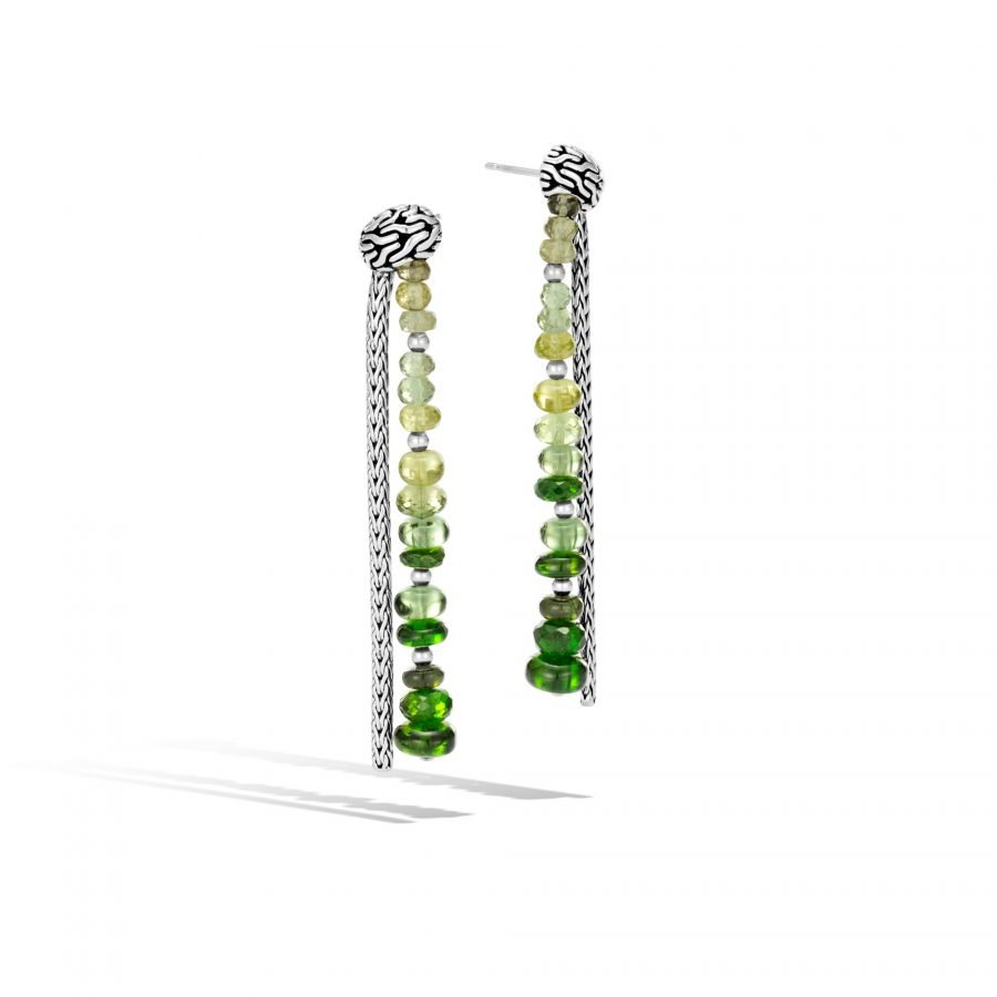 Classic Chain Drop Earring in Silver with Chrome Tourmaline 2