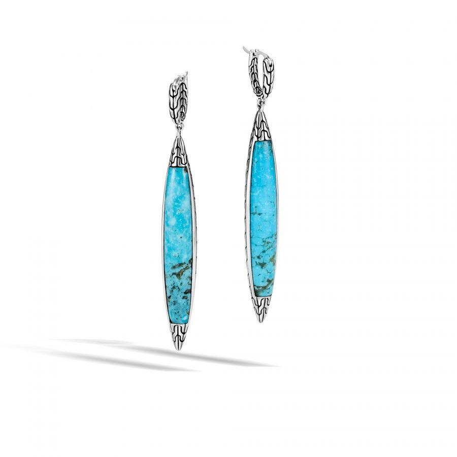 Classic Chain Spear Earring in Silver with Turquoise 2