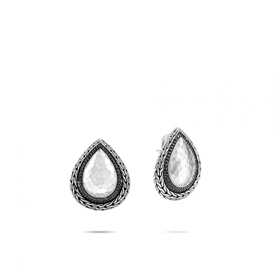 Classic Chain Earring in Hammered Silver with Black Spinel 2