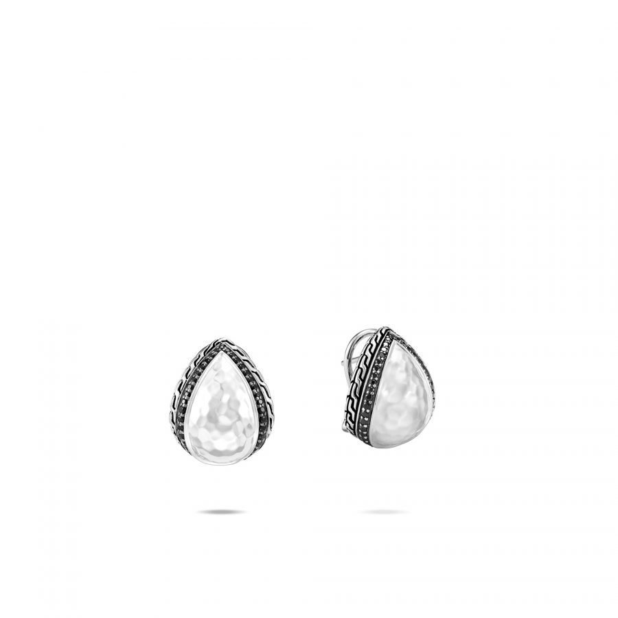 Classic Chain Buddha Belly Earring in Hammered Silver with Black Spinel 2