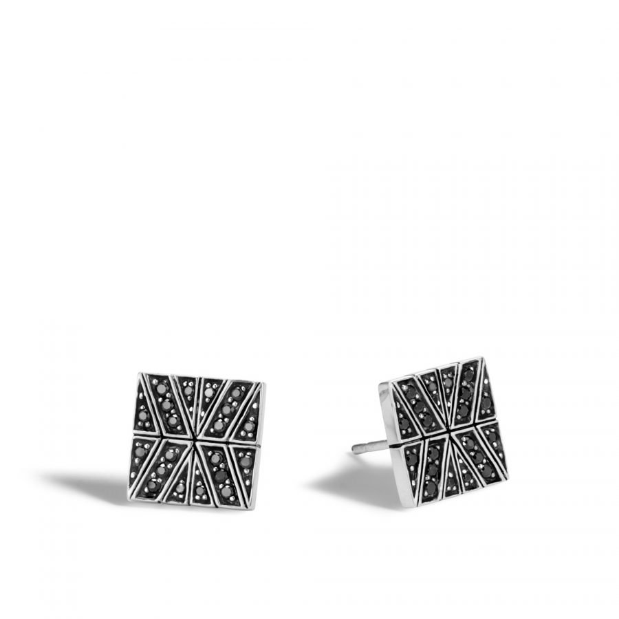 Modern Chain 10.5MM Stud Earring in Silver with Black Spinel 2