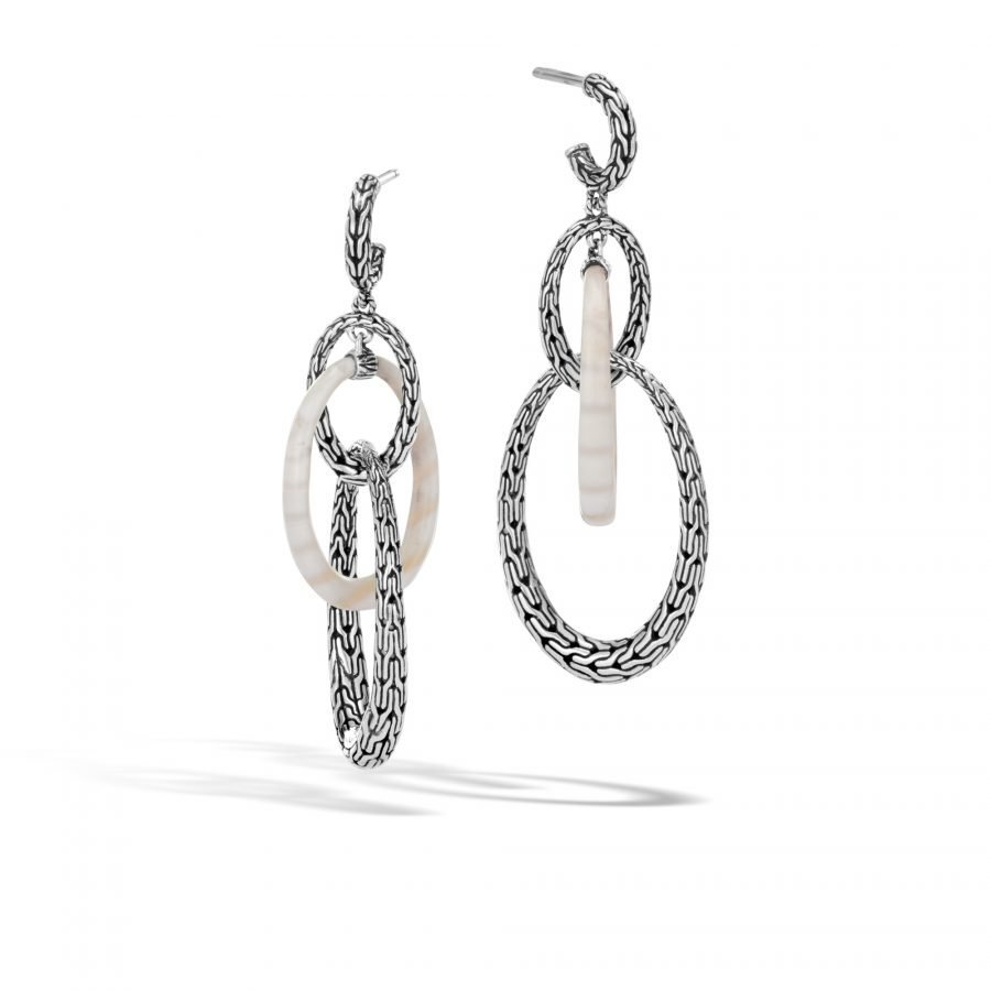 Classic Chain Drop Earring in Silver with White Agate 2