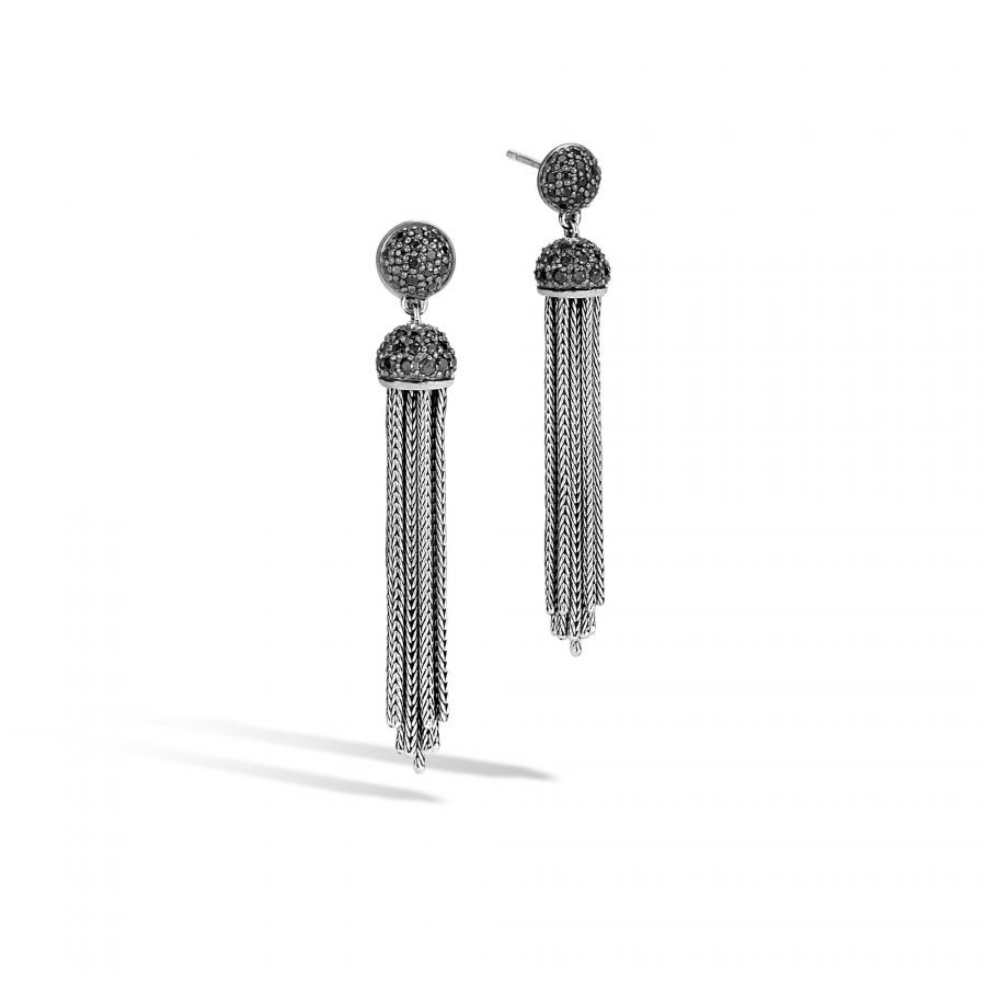 Classic Chain Tassel Earring in Silver with Black Spinel 2