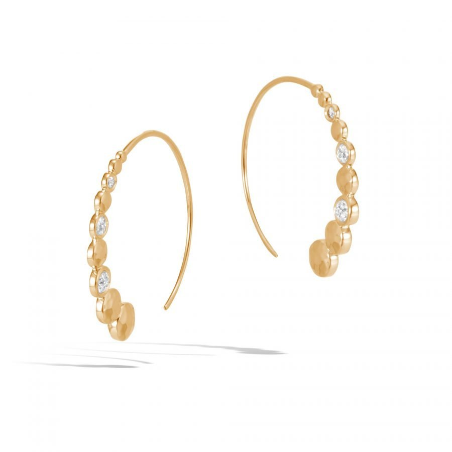 Dot Small Hoop Earring in Hammered 18K Gold with White Diamonds 2