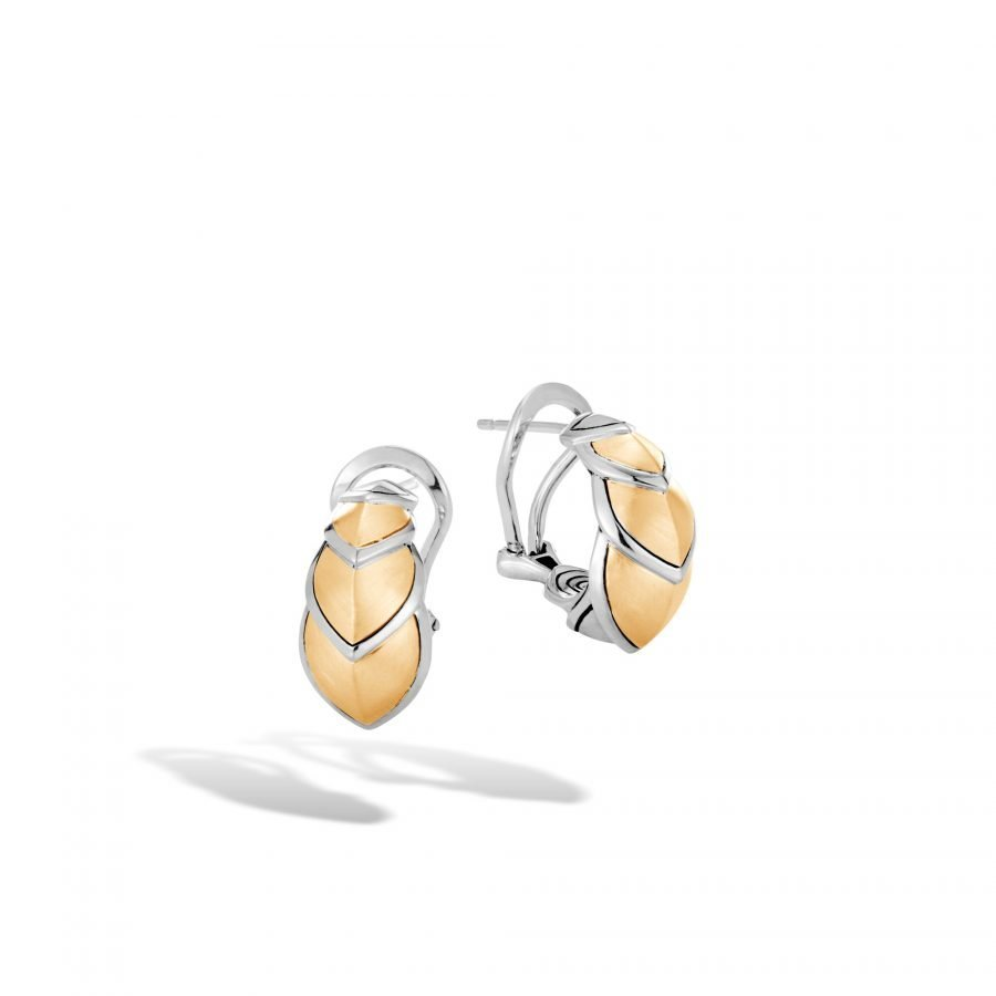 Legends Naga Buddha Belly Earring in Silver, Brushed 18K Gold 2