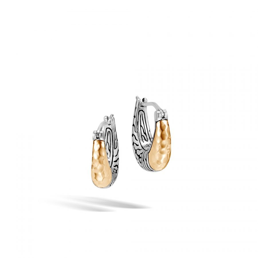 Classic Chain Hoop Earring in Silver and Hammered 18K Gold 2