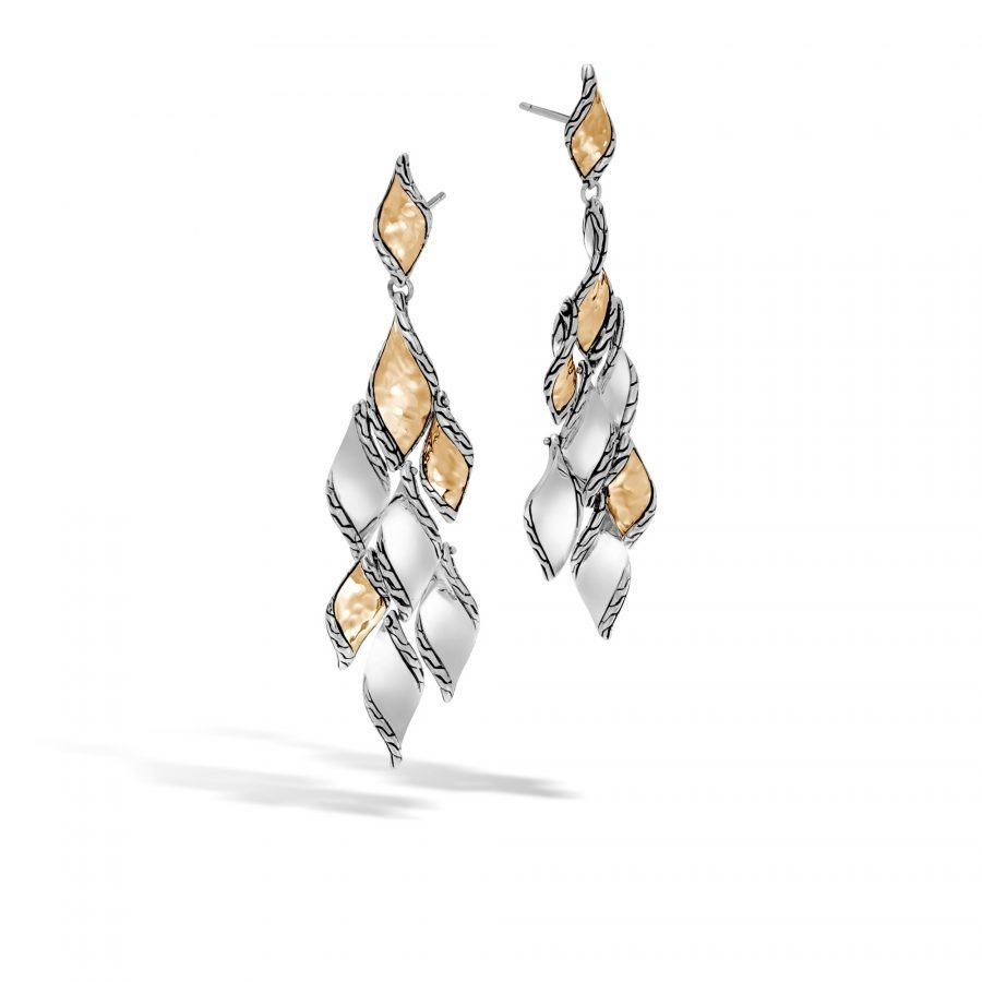 Classic Chain Wave Chandelier Earring in Silver & Hammered 18K Gold 2
