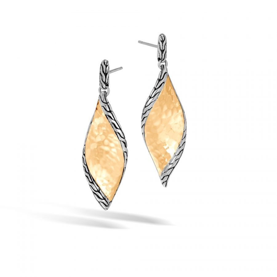 Classic Chain Wave Drop Earring in Silver & Hammered 18K Gold 2