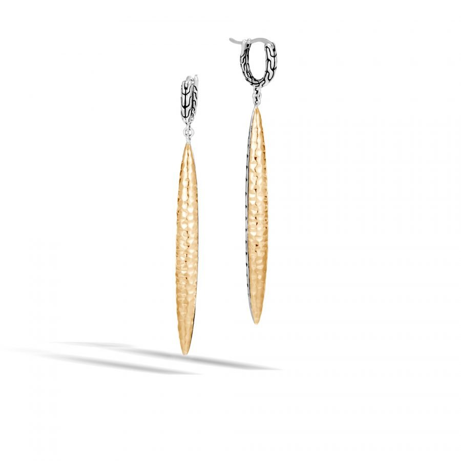 Classic Chain Spear Drop Earring in Silver & Hammered 18K Gold 2