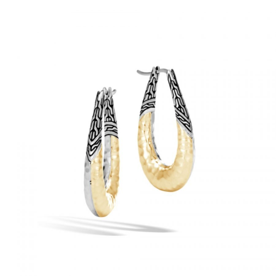 Classic Chain Hoop Earring in Silver and 18K Hammered Gold 2