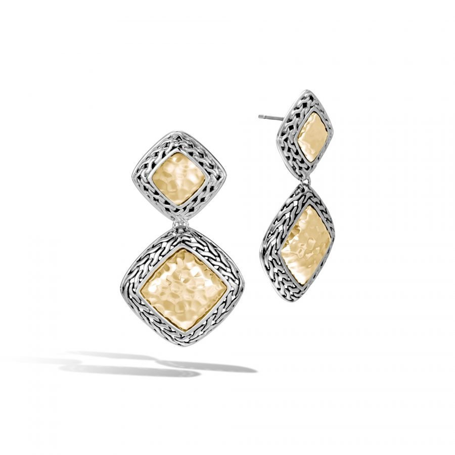 Classic Chain Drop Earring in Silver and Hammered 18K Gold 2