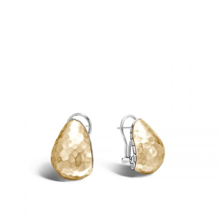 Classic Chain Buddha Belly Earring, Silver, Hammered 18K Gold 2