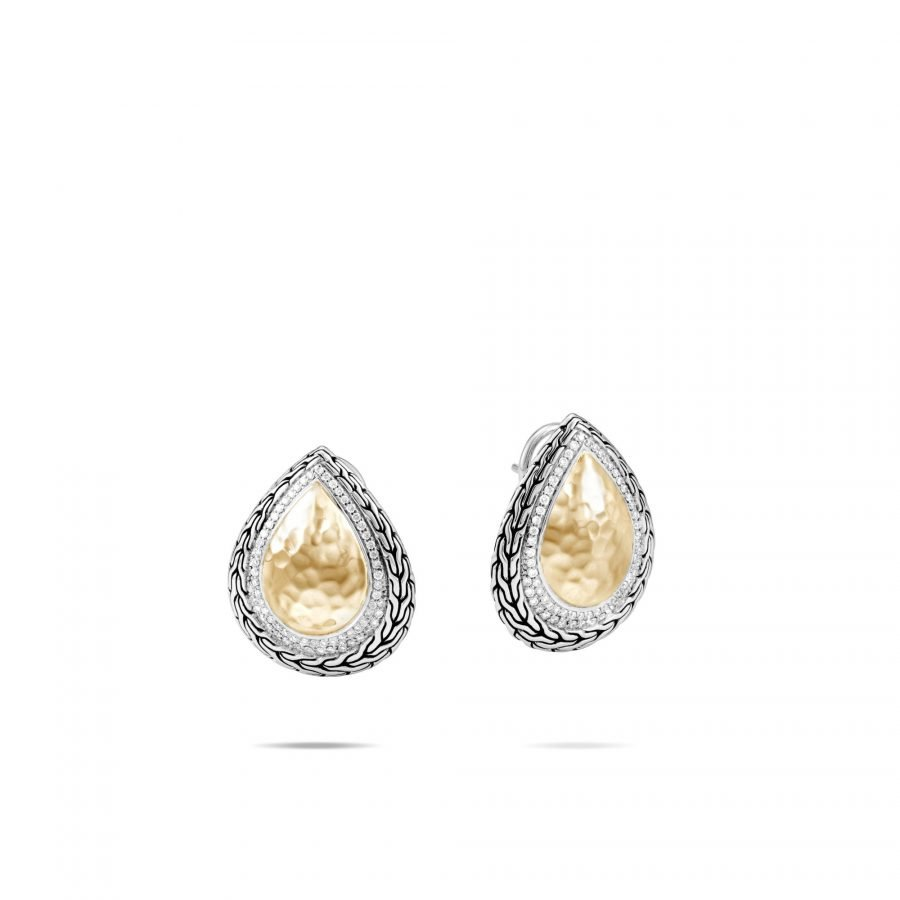 Classic Chain Earring in Silver & Hammered 18K Gold with White Diamonds 2